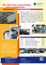 BSc / BSc (Hons) in Product Design, Testing and Certification Flyer